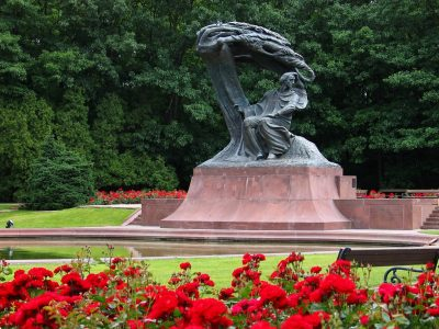 Frederic Chopin Monument in Warsaw, Poland. Situated in the Lazienki park complex. Unveiled in 1926, destroyed during WWII, reconstructed in 1958.