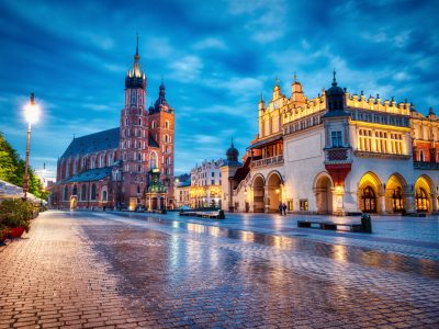 St. Mary's Basilica on the Krakow Main Square at Dusk, Krakow, Poland