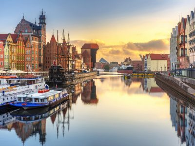 Beautiful sunrise over Motlawa river in Gdansk, Poland.